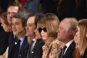 (L-R from 3rd from L) )Producer Andrew Lauren, David Lauren Executive Vice President of global advertising for Ralph Lauren, marketing and corporate communications , Anna Wintour, Editor-in-Chief Vogue, guest, former Vogue Creative Director Grace Coddington and Vogue's Fashion Market/Accessories Director and Virginia Smith attend the Ralph Lauren Fall 2016 fashion show during New York Fashion Week: The Shows at Skylight Clarkson Sq on February 18, 2016 in New York City.