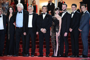 "(L-R) Kevin King, Christa Campbell, Avi Lerner, Victor Hadida, Sylvester Stallone, Paz Vega, Jeff Greenstein, Jonathan Yunger and guest attend the screening of ""Rambo - First Blood"" during the 72nd annual Cannes Film Festival on May 24, 2019 in Cannes, France."