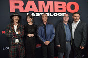 "Oscar Jaenada, Paz Vega, Sylvester Stallone, Adrian Grunburg, and Serio Peris-Menchets attend the ""Rambo: Last Blood"" Screening & Fan Event at AMC Lincoln Square Theater on September 18, 2019 in New York City."