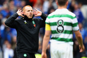 Neil Lennon coach of Celtic reacts at the end of the Clydesdale Bank Premier League match between Rangers and Celtic at Ibrox Stadium on April 24, 2011 in Glasgow, Scotland.