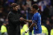 Rangers manager Steven Gerrard and James Tavernier of Rangers are shake hands during the UEFA Europa League Group G match between Rangers and Spartak Moscow at Ibrox Stadium on October 25, 2018 in Glasgow, United Kingdom.