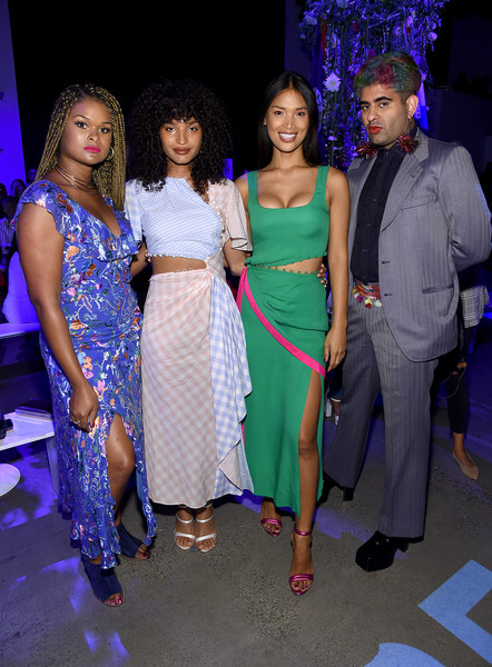 Prabal Gurung - Front Row - September 2019 - New York Fashion Week: The Shows [fashion,event,fashion design,dress,fun,party,performance,formal wear,leisure,fashion accessory,prabal gurung,geena rocero,alok v. menon,raquel willis,indya moore,front row,front row,l-r,shows,new york fashion week]