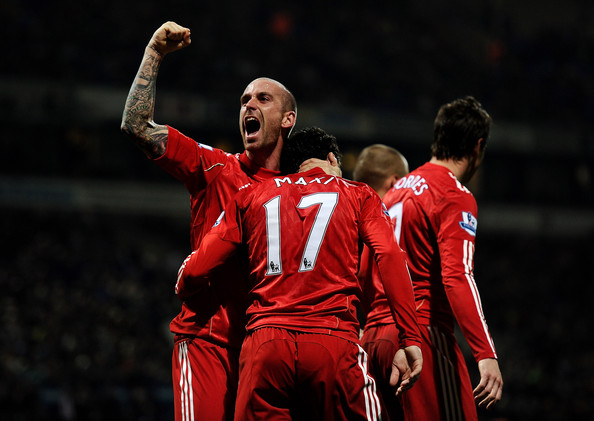 Raul Meireles Raul Meireles celebrates after Maxi Rodriguez of Liverpool scored the winning goal during the Barclays Premier League match between Bolton Wanderers and Liverpool at the Reebok Stadium on October 31, 2010 in Bolton, England.