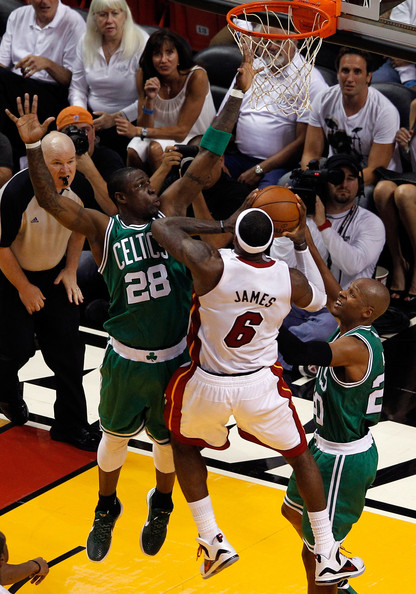 Boston Celtics v Miami Heat - Game Seven [game seven,photograph,basketball,sports,basketball moves,basketball player,team sport,ball game,tournament,player,basketball court,lebron james 6,user,mickael pietrus,half,miami,miami heat,boston celtics,shot]