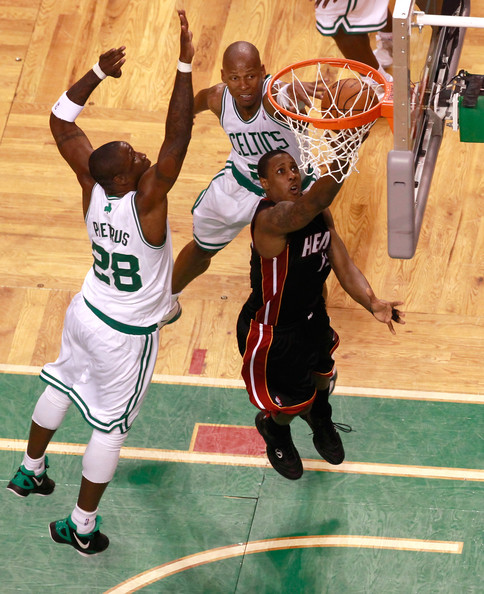 Miami Heat v Boston Celtics - Game Four [photograph,basketball,sports,basketball moves,basketball player,ball game,basketball court,player,team sport,tournament,mario chalmers,user,four,game four,boston,miami heat,boston celtics,shot attempt,half]