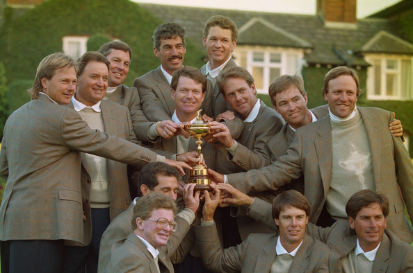 (FILE) Tom Watson Named As Ryder Cup 2014 Captain [social group,event,team,tom watson,captain,captain,team members,file,centre,trophy,team,united states,ryder cup]