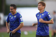 Takashi Inui of Real Betis Balompie and Andres Guardado of Real Betis Balompie  looks on during the Pre-season match between Real Betis and Lille OSC at Estadio Chapin on July 28, 2018 in Jerez de la Frontera,  Spain.