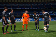 James Rodriguez of Real Madrid CF controls the ball while teammates Xabi Alonso  Gareth Bale, Iker Casillas and Marcelo of Real Madrid during the Adidas launch of their new Real Madrid C.F. 3rd kit designed by Yohji Yamamoto at Bernabeu on August 26, 2014 in Madrid, Spain.