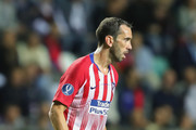 Diego Godin of Atletico runs with the ball during the UEFA Super Cup between Real Madrid and Atletico Madrid at Lillekula Stadium on August 15, 2018 in Tallinn, Estonia.