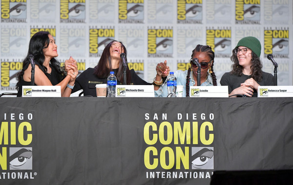 2019 Comic-Con International - 'Steven Universe' Panel [news conference,event,comics,fiction,media,world,convention,costume,san diego convention center,california,comic-con international,steven universe panel,deedee magno hall,rebecca sugar,michaela dietz,estelle]
