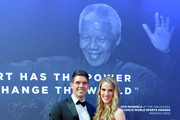 Laureus Academy Member Missy Franklin and Hayes Johnson at the Nelson Mandela wall during the 2019 Laureus World Sports Awards on February 18, 2019 in Monaco, Monaco.
