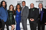 (L-R) Actors/cast members Constantine Maroulis, Teal Wicks and Deborah Cox, director Jeff Calhoun, composer Frank Wildhorn and lyricist Leslie Bricusse arrive at the opening night of 'Jekyll & Hyde' held at the Pantages Theatre on February 12, 2013 in Hollywood, California.