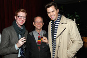 """Actors Joel Grey (C) and Andrew Rannells (R) attend the red carpet premiere screening of Amazon's Original Series """"Mozart in the Jungle"""" at Alice Tully Hall at Lincoln Center on December 2, 2014 in New York City."""
