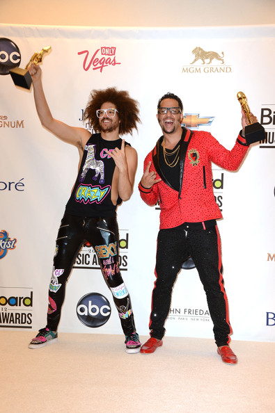 Red Foo Redfoo and Sky Blu of LMFAO, winners of the Hot 100 Song of the Year award, pose in the press room at the 2012 Billboard Music Awards held at the MGM Grand Garden Arena on May 20, 2012 in Las Vegas, Nevada.