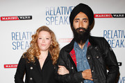 "Actors Natasha Lyon and Waris Ahluwalia attend the opening night of ""Relatively Speaking"" at the Brooks Atkinson Theatre on October 20, 2011 in New York City."