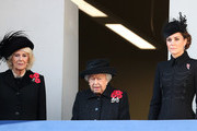 Camilla, Duchess of Cornwall, Queen Elizabeth II and  Catherine, Duchess of Cambridge attend the annual Remembrance Sunday memorial at The Cenotaph on November 10, 2019 in London, England. The armistice ending the First World War between the Allies and Germany was signed at Compiègne, France on eleventh hour of the eleventh day of the eleventh month - 11am on the 11th November 1918.