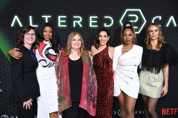 "Netflix's ""Altered Carbon"" Season 2 Photo Call [season,altered carbon,event,youth,fashion,premiere,performance,talent show,style,renee elise goldsberry,dina shihabi,lela loren,simone missick,photo call,amc lincoln square theater,new york city,netflix,public relations,socialite,carpet,\uff46\uff52\uff49\uff45\uff4e\uff44\u30fb\uff53\uff48\uff49\uff50\uff4d,fashion,celebrity,thermo fisher scientific,television,public]"
