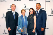 (L-R) Chairman U.S. House of Representative Intelligence Committe Adam Schiff, SAG-AFTRA President Gabrielle Carteris, actress Alyssa Milano and SAG-AFTRA National Executive Director David White attend a SAG-AFTRA Panel Discussion on Deepfakes at SAG-AFTRA on May 6, 2019 in Los Angeles, California.