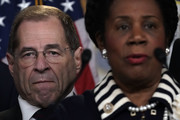 U.S. Rep. Jerrold Nadler (D-NY) (L) and Rep. Sheila Jackson Lee (D-TX) (R) listen during a news conference to denounce a meeting between the Justice Department and FBI officials and Rep. Devin Nunes (R-CA) and Rep. Trey Gowdy (R-SC) May 24, 2018 on Capitol Hill in Washington, DC. The White House is arranging two separate meetings, one for House Republicans only and one for bipartisan House and Senate leaders known as the Gang of Eight, to review classified information related to the Russia investigation including the informant the FBI had sent to talk to Trump Campaign advisers.