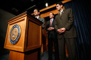 (L-R) U.S. House Minority Whip Rep. Eric Cantor (R-VA) speaks as Rep. Dave Camp (R-MI) and Rep. Paul Ryan (R-WI) listen during a news conference on the health care legislation March 19, 2010 on Capitol Hill in Washington, DC. The House will vote on the Health Care Reform Legislation on Sunday.