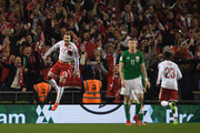 Nicklas Bendtner of Denmark celebrates scoring his sides fifth goal with his Denmark team mates during the FIFA 2018 World Cup Qualifier Play-Off: Second Leg between Republic of Ireland and Denmark at Aviva Stadium on November 14, 2017 in Dublin, Ireland.