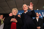 Republican presidential candidate, U.S. Rep. Ron Paul (R-TX), (R), and his wife Carol Paul, wave to supporters after speaking at his primary night campaign rally on January 10, 2012 in Manchester, New Hampshire. According to early results, Paul finished second behind former Massachusetts Gov. Mitt Romney in the first in the nation primary.