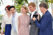 """(L-R) Actors Bryce Dallas Howard, writer Jason Lew, Mia Wasikowska, Henry Hopper and director Gus Van Sant attend the """"Restless"""" photocall during the 64th Annual Cannes Film Festival on May 13, 2011 in Cannes, France."""