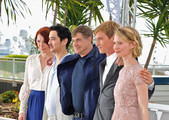 """(L-R) Actors Bryce Dallas Howard, writer Jason Lew, director Gus Van Sant, Henry Hopper and Mia Wasikowska attend the """"Restless"""" photocall during the 64th Annual Cannes Film Festival on May 13, 2011 in Cannes, France."""