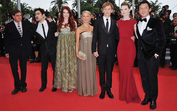 (L-R) Director Gus Van Sant, guest, Bryce Dallas Howard, guest, Henry Hopper, Mia Wasikowska, and writer Jason Lew  arrives at the 'Restless' premiere during the 64th Annual Cannes Film Festival at the Palais des Festivals on May 12, 2011 in Cannes, France.