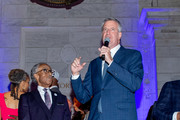 Rev. Al Sharpton with NY City Mayor Bill de Blasio on stage during his 65th Birthday Celebration at New York Public Library - Stephen A Schwartzman Building on October 03, 2019 in New York City.