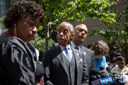 (L-R) Gwen Carr, mother of the late Eric Garner, and Rev. Al Sharpton listen to questions from the press after meeting with Department of Justice officials, June 21, 2017 in the Brooklyn borough of New York City. The family was expected to receive a status report on the progress of the civil rights investigation into Eric Garner's police-involved choking death.