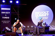 Artists Timbaland and Swizz Beatz speak onstage during day 1 of REVOLT Summit and AT&T Summit on September 12, 2019 in Atlanta, Georgia.