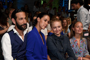 Massimo Sinato, Rebecca Mir, Anna Maria Muehe and Sonja Gerhardt attend the Riani show during the Berlin Fashion Week Spring/Summer 2019 at ewerk on July 4, 2018 in Berlin, Germany.