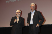 """Actor Richard Gere presents """"Days Of Heaven"""" as chair Claudio Masenza (L) looks on during the 6th International Rome Film Festival at Sala Sinopoli on November 3, 2011 in Rome, Italy."""