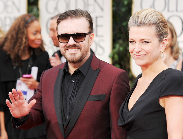 Ricky Gervais Actor Ricky Gervais and Jane Fallon arrive at the 69th Annual Golden Globe Awards held at the Beverly Hilton Hotel on January 15, 2012 in Beverly Hills, California.