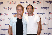 "Vlad Kvartin (L) and Maksim Chmerkovskiy attend ""A Ride Through the Ages"": Wrangler Capsule Collection Launch at Fred Segal Sunset at Fred Segal on September 19, 2019 in Los Angeles, California."
