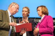 Alexander Gauland (L-R), Alice Weidel and Beatrix Von Storch of the right-wing Alternative for Germany (AfD) political party attend the AfD federal congress on June 30, 2018 in Augsburg, Germany. The AfD is Germany's third-ranked party and rose to power mainly be exploiting popular unease over the wave of large-scale immigration by migrants and asylum seekers in 2015-2016.