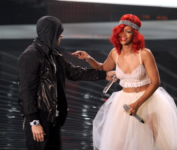 Rihanna Rapper Eminem (L) and singer Rihanna perform onstage during the 2010 MTV Video Music Awards at NOKIA Theatre L.A. LIVE on September 12, 2010 in Los Angeles, California.
