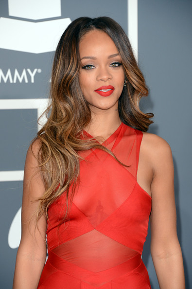 The 55th Annual GRAMMY Awards - Arrivals [hair,clothing,hairstyle,shoulder,red,lip,beauty,fashion model,dress,long hair,arrivals,singer rihanna,staples center,los angeles,california,55th annual grammy awards]