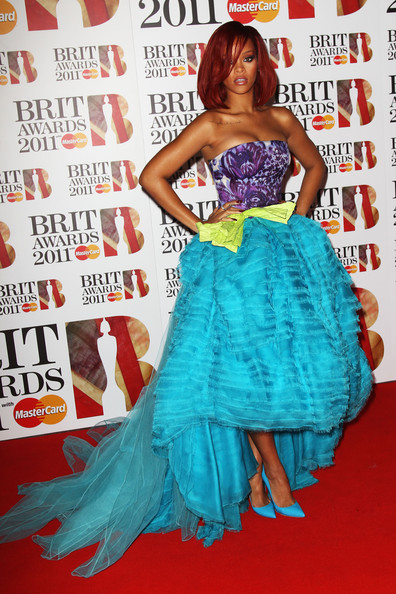 Rihanna (UK TABLOID NEWSPAPERS OUT) Singer Rihanna attends The Brit Awards 2011 held at The O2 Arena on February 15, 2011 in London, England.