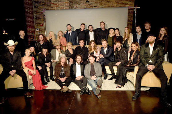 Big Machine Label Group Celebrates The 53rd Annual CMA Awards In Nashville [social group,event,performance,fashion,stage,heater,audience,drama,performing arts,musical,andrew kautz,kelby ray,allison jones,l-r,back row,row,nashville,big machine label group celebrates the 53rd annual cma awards,the cadillac three,celebration]