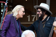 """(Rear) Musicians Joe Walsh (L), Don Was and (front) Van Dyke Parks appear at the """"Peace & Love"""" birthday celebration for Ringo Starr at Capitol Records on July 7, 2017 in Los Angeles, California."""