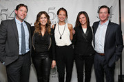 Edward Burns (L), Christy Turlington Burns (C), Kelly Turlington Burns and Brian Burns pose with actress/ singer Rita Wilson backstage following her performance  at 54 Below on April 14, 2013 in New York City.