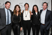 Edward Burns (L), Christy Turlington Burns (C), Kelly Turlington Burns and Brian Burns pose with actress/ singer Rita Wilson backstage prior to her performance  at 54 Below on April 14, 2013 in New York City.