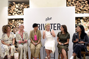 """(L-R) Bridgid Coulter, Rebecca King-Crews, Mimi G, Alison Sweeney, Mandana Dayani, and Melissa Magsaysay speak during The Riveter's """"Elevating Women In Their Work"""" Pop-Up Event at Farmhouse on August 23, 2019 in Los Angeles, California."""