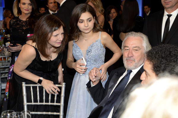 26th Annual Screen Actors Guild Awards - Inside [event,fashion,premiere,dress,suit,formal wear,smile,photobombing,ceremony,flooring,lucy gallina,r,robert de niro,screen actors guild awards,c,california,los angeles,the shrine auditorium,screen actors\u00e2 guild awards,robert de niro,leonardo dicaprio,stock photography,photography,photograph,getty images,image,actor]