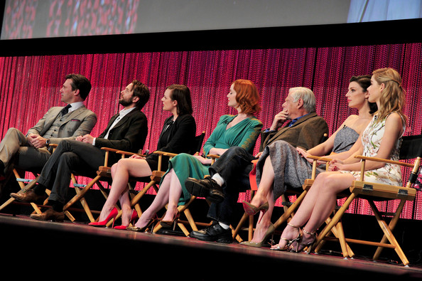 """The Paley Center For Media's PaleyFest 2014 Honoring """"Mad Men"""" [mad men,event,performance,talent show,audience,performing arts,heater,stage,convention,actors,christina hendricks,robert morse,jessica pare,elisabeth moss,stage,l-r,paley center for media,paleyfest 2014]"""