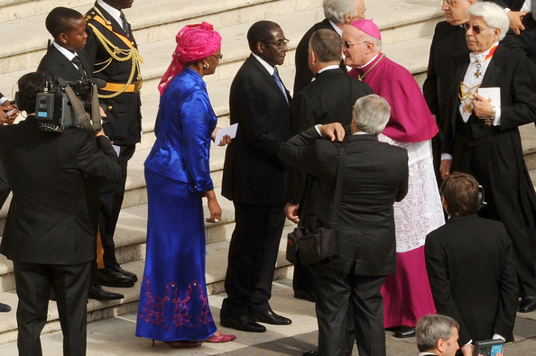Robert Mugabe Zimbabwe President Robert Mugabe and his wife Grace arrive at the John Paul II Beatification Ceremony held by Pope Benedict XVI on May 1, 2011 in Vatican City, Vatican. The ceremony marking the beatification and the last stages of the process to elevate Pope John Paul II to sainthood was led by his successor Pope Benedict XI and attended by tens of thousands of pilgrims alongside heads of state and dignitaries.