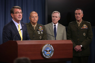Robert Neller Secretary of Defense Ash Carter and Joint Chiefs of Staff Dempsey Hold Briefing at Pentagon