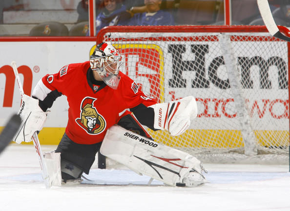 Robin Lehner Robin Lehner #40 of the <a class='sbn-auto-link' href='http://www.sbnation.com/nhl/teams/ottawa-senators'>Ottawa Senators</a> makes a glove save during warmup before a game against the <a class='sbn-auto-link' href='http://www.sbnation.com/nhl/teams/toronto-maple-leafs'>Toronto Maple Leafs</a> at Scotiabank Place on September 29, 2010 in Kanata, Canada.